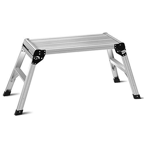 GOPLUS Multifunktionale Arbeitsplattform aus Aluminium, Arbeitsbühne 150 kg Tragfähigkeit, Trittbank mit Sicherheitsschlössern, Faltbare Konstruktion, Perfektes Instrument für Autowaschen, Zuhause
