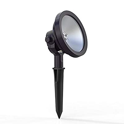 RISK FREE GUARANTEED! Warm, bright light LED light is perfect for illuminating entry gate or wall façades Stake enables safe and easy installation Built in high-efficiency lens to focus light Features non-corrosive metal construction with an oil rubb...