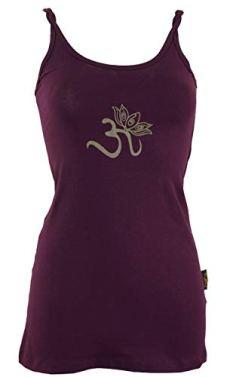 Guru-Shop Yoga-Top Bio-BW OM, Damen, Plum, Baumwolle, Size:M (38), Tops, T-Shirts, Shirts Alternative Bekleidung