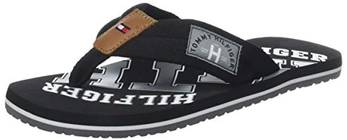 Tommy Hilfiger Essential TH Beach Sandal, Chanclas Hombre, Negro (Black 990), 43 EU