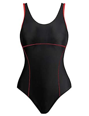 82% Nylon, 18% Spandex; Lining: 100% Polyester. Chlorine resistant swimsuits can retain shape and prevents fading. Sporty one-piece swimsuit featuring built-in shelf bra with soft removable cups, two layers lining front to provide great support and s...