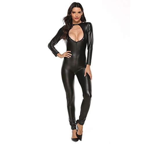 ALASON Damen Wetlook Body Ouvert Hose Frauen Latex Catsuit Lack Leder Overall Jumpsuit Lange Ärmel Hot Pants Sexy Dessous Clubwear,Schwarz,XXXXL