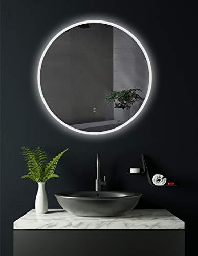 - Specchio da bagno tondo Cottbus, con LED e diametro da 60 cm, classe di efficienza energetica A+