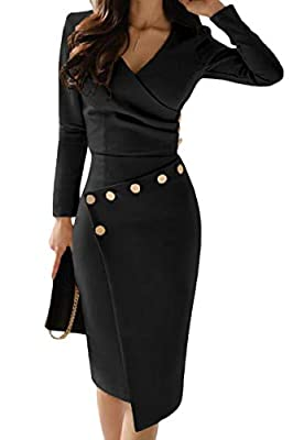 Long sleeved Asymmetrically wrapped and buttoned bodycon midi dress Subtly ruched bodice with v neck and empire wait Made of soft high-stretch fabric, comfortable to wear Modern fashion style suitable for all kinds of occasions