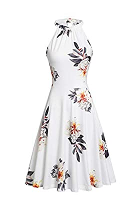 Features: Floral print casual summer dress sundress, fit and flare dress, halter top dress and sleeveless in classic A-line style Halter neck and vibrant floral print show skinny, long legs, womanly curves, eye-catching This summer dress is well desi...
