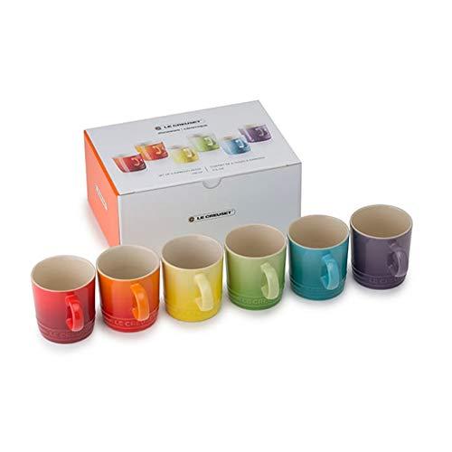 le Creuset Set di Tazze da Caffè, 6 Pezzi, 8.5 Cm Ciascuna, Gres, Multicolore (Arcobaleno)