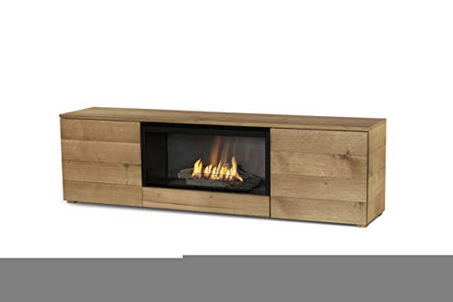 Planika Pure Flame TV Box with Automatic Ethanol Burner: Without Mesh Mesh – with Remote Control – Natural Oak Veneer
