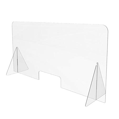 Sneeze Guard for Counter (48'W x 24'H), Freestanding Plexiglass Shield with Transaction Window, Portable Clear Acrylic Plastic Barrier for Countertops, Desk, Cashier, Manicurist [Made in USA]