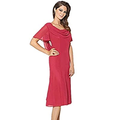 Feature:Short Sleeves,Cowl Neck,Tea-length,Built-In Bra,Trend:Elegant,Classic & Timeless,Silhouette:Sheath/Column. Suit for Evening,Cocktail,Wedding Party Prom,Graduation,Birthday Party and most of Formal Occasion. Please refer to our size chart amon...
