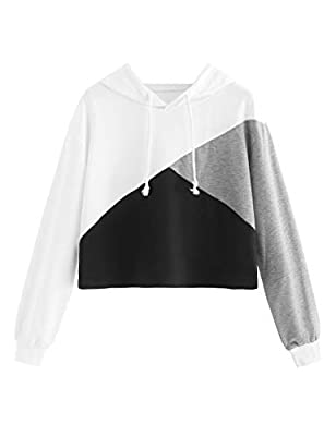 Fabric has some stretch, 32.9% Rayon, 61.1% Polyester, 6% Spandex Color Block Cut And Sew Panel Crop Hoodie Sweatshirt Casual / Sports Style, Spring / Fall Wear Please refer to the size below before ordering. Please note that slight color difference ...