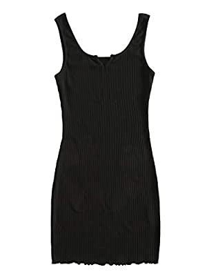 Material: 5% Spandex, 95% Cotton; Fabric has some stretch Feature: Sleeveless Dress, Bodycon Pencil Dress, Mini, Notched Neck, Rib Knit, Lettuce Trim, Solid, Plain, Slim Fit Occasion: Suitable for Work, Office, Casual Outtings, Picnic, Dating, Shoppi...