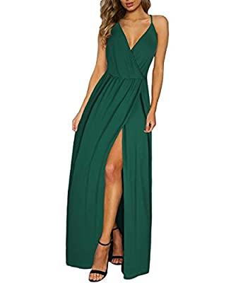 Women sexy maxi beach sun dresses is made of 94% ployester and 6% Spandex.Super soft and comfortable to wear all day. Features:Pull on closure,Deep V-Neck,high waist,Ajustable Spaghetti strap, sleeveless maxi long dress, side split for femininity sil...