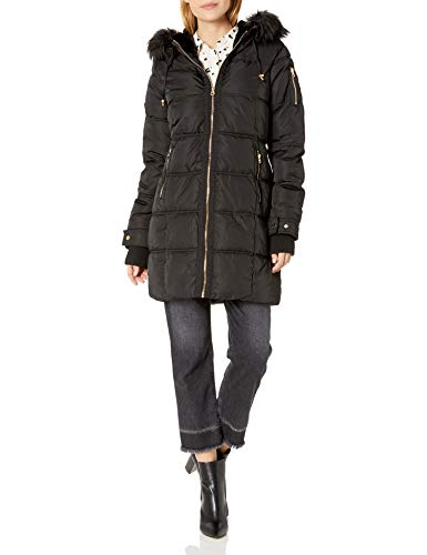 Jessica Simpson Women's Long Puffer Jacket, Faux Fur Hood Black, S