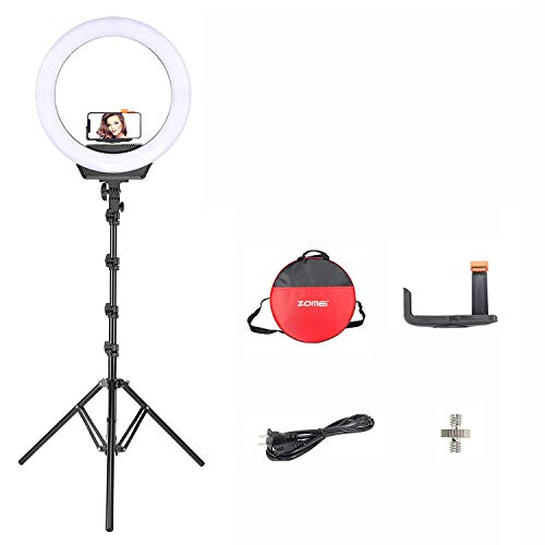 Zomei Dimmable Ring Light 16-Inch Led Beauty Makeup Photography Fill Light with Foldable Tripod Stand Cellphone Holder for Camera Phone YouTube Live Streaming Selfie Video Studio Shooting