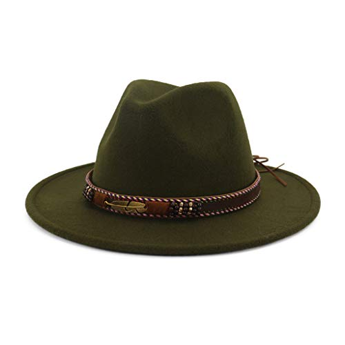 suoryisrty Cappelli Uomo Donna Vintage Cappello Fedora con Fibbia per Cintura Intrecciata Protezione Solare Tesa Larga Berretto Classico Trilby Jazz Verde Militare