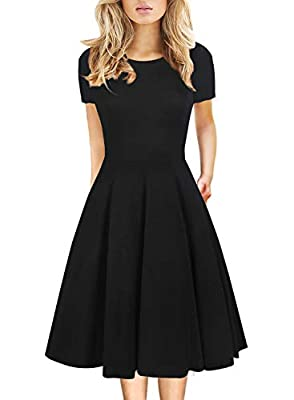 Material: 65% Cotton + 35% Polyester, the fabric is stretchy, feels soft and comfortable Design: Short sleeve, the zipper is on the left of the dress. Round neck enhances bust, It have pockets on each side, Knee length. Suitable for a variety of occa...