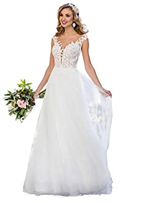 ♥Feature: A-Line Style Appliqued Lace wedding dresses For Women , Scoop Neck Lace beach boheimian bridal dress , Illusion Floral Lace Tulle and Satin wedding gown , Floor length, Sleeveless straps ,With Built-in bra, beautiful lace flower beaded wedd...