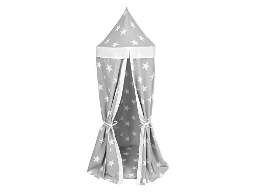 KraftKids Hänge-Zelt in große weiße Sterne auf Grau Uniweiss, Baldachin aus Baumwolle für das Kinderzimmer, 65 x 210 cm, inkl. Schlafmatte