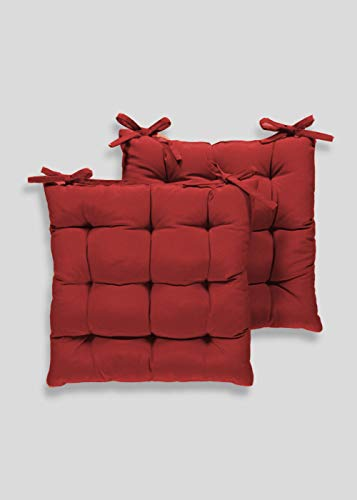 Angel Mommy Cotton Decorative Damask Fabric Chairpad/Back Support/Seat Cushion with Ties and Handmade Quilting (Maroon, Medium - 16' x 16' Inch), Pack of 2