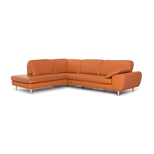 Willi Schillig leather corner sofa terracotta orange couch