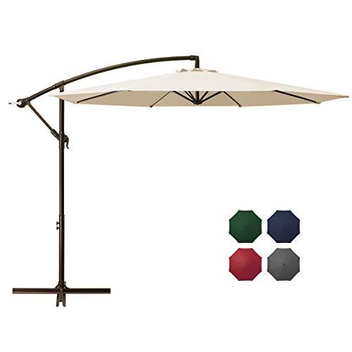 DOMICARE 10ft Offset Hanging Patio Umbrella with 8 Ribs, Outdoor Market Umbrella Easy Tilt Adjustment, Cantilever Umbrella for Backyard, Poolside, Lawn and Garden, Beige