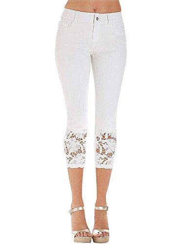 ShallGood Donna Jeans Slim Fit Skinny Pizzo Basic Jeans Denim Stretch Pantaloni A Vita Alta Lunghi Capri Bermuda Pantaloni Jeans Bianco Large