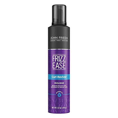 John Frieda Frizz Ease Curl Reviver Mousse, 7.2 Ounces, Enhances Curls, Soft Flexible Hold, Volumizing Mousse for Curly or Frizzy Hair, Alcohol-Free