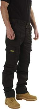 SITE KING Mens Cargo Combat Work Trousers Sizes 28 to 56 with Button & Zip Fly (34 Waist / 31) Black