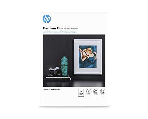HP Carta Fotografica Lucida HP Premium Plus CR672A, Grammatura 300g/m2, Formato A4, Confezione da 20 Fogli