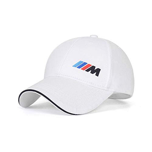 Westion Logo Embroidered White Color Adjustable Baseball Caps for Men and Women Hat Travel Cap Car Racing Motor Hat (fit BMW-m)