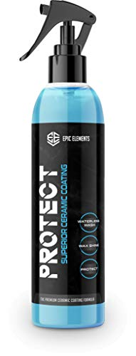 Epic Elements Protect Ceramic Coating Car Wax Spray for Cars - Top Coat Car Polish with Ultra SiO2 Coating - Hydrophobic Waterless Car Wash and Wax for Paint Sealant, Detail, Auto Protection Car Care