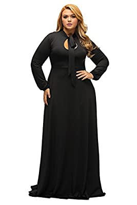 ✪Nice Style -- Evening dress with long sleeves, elegant maxi silhouette falls and touches the floor that's quite perfect for any formal event ✪Sexy Curves -- Maxi dress features soft fabric and feminine silhouette are so divine, the neck bow tie and ...