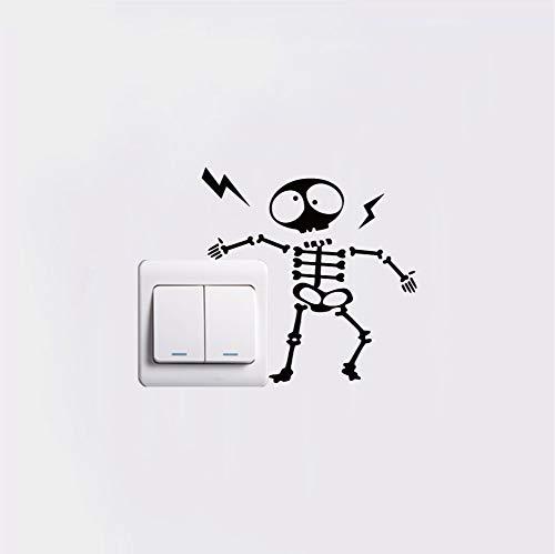 Zemn Pegatina Electricidad Eléctrica Esqueleto Etiqueta Interruptor De Arte Creativo De Dibujos Animados De Vinilo Tatuajes De Pared para El Dormitorio Decoración del Hogar 2 Piezas