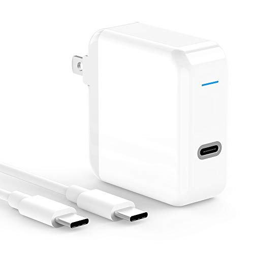 USB C Charger for 2020/2018 iPad Pro 12.9 Gen 4/3, iPad Pro 11 Gen 2/1, USB C Devices, 45W Thunderbolt 3 USB C Power Adapter, Power Supply, 6.6ft USB C to C Cable, LED, Foldable