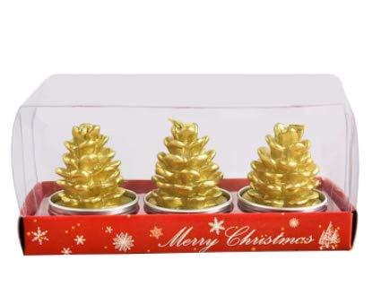 Set de 3 Velas navideñas, Velas Doradas Decorativas, Adorno para decoración Navidad