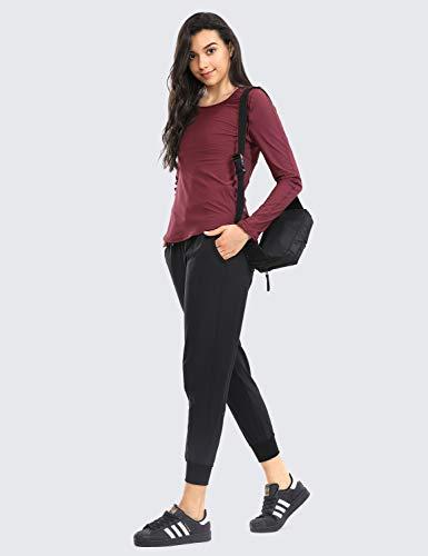CRZ YOGA Women's Lightweight Joggers Pants with Pockets Drawstring Workout Running Pants with Elastic Waist Black Medium 4