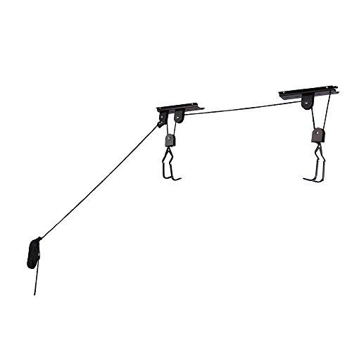 Garage Bicycle Hoist: 100-Pound Capacity.