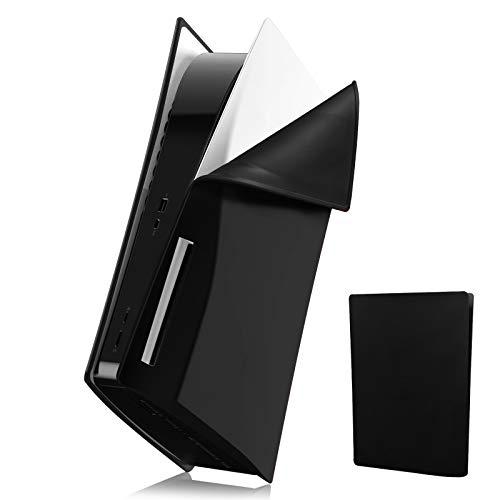 PS5 Konsole Skin Cover, Silikon Anti-Scratch Playstation 5 Schutzhülle, Sanft Stoßfest Anti-Staub PS5 Konsole Hülle Schlank Shell für Sony PS5 Console Disc Version-Schwarz
