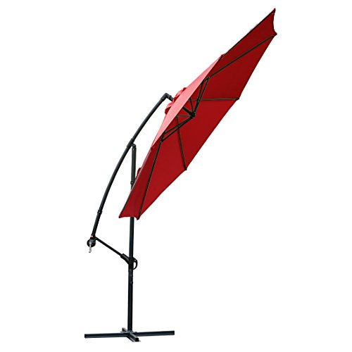 Offset umbrella 10 Ft Cantilever Patio Umbrella Outdoor Market umbrellas with cross base (Red)