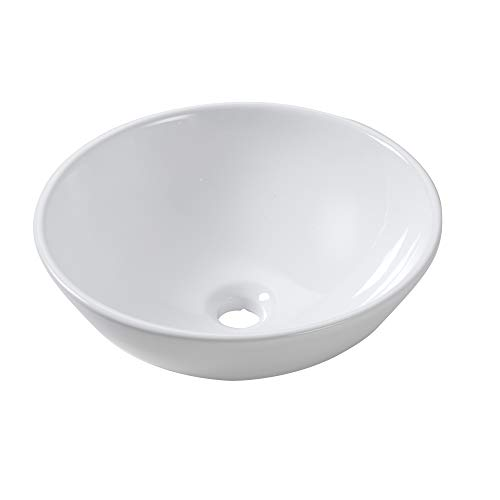 Small Round Vessel Bathroom Sink - Lordear 16x16 inch Modern Round Bowl Above Counter Bathroom Sink Pure White...