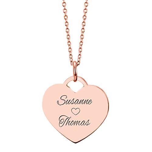 URBANHELDEN - Herzkette mit Wunschgravur - Damen-Kette Namenskette mit 2 Namen - Amulett in Herzform...