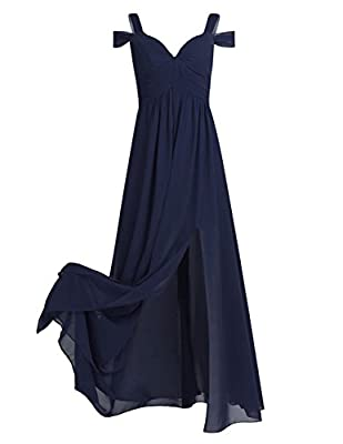 Package Contents: 1x Dress Material: chiffon, Dress Length: Full Length Sleeveless Floor Length Slim lace chiffon evening Formal dress One-the-shoulder and side split design, pleated padded top bodice, deep V-neckline Suit for Formal,Club,evening,Hom...
