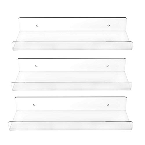 Blingsoul Clear Acrylic Wall Mounted Shelf - 15 Inch Invisible Floating Shelves, Kids Bookshelf, Picture Ledge...