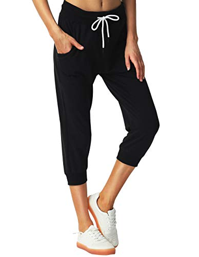 SPECIALMAGIC Women's Sweatpants Cropped Jogger French Terry Running Pants Lounge Loose Fit Drawstring Waist with Side Pockets Black M 4