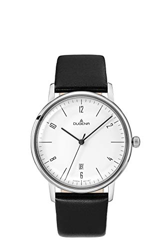 Dugena Damen Quarz-Armbanduhr, Gehärtetes Mineralglas, Lederarmband, Dessau Color, Schwarz/Silber, 4460785-LB05