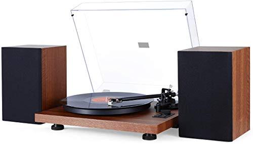 1 BY ONE Tourne Disque Wireless avec Système Hi-FI Intégré et Enceintes d'Etagère 36 Watts, Vynile avec Cartouche Magnétique