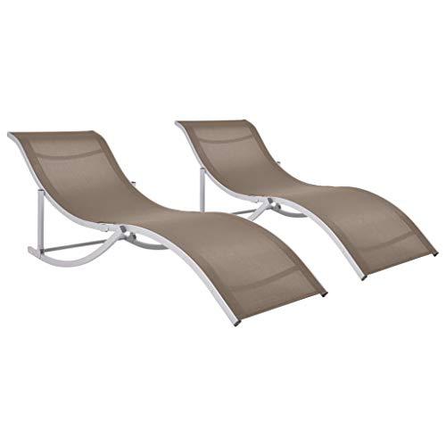 vidaXL 2X Sonnenliege Klappbar Gartenliege Liegestuhl Liege Saunaliege Gartenmöbel Relaxliege Strandliege Lounge Garten Taupe Textilene