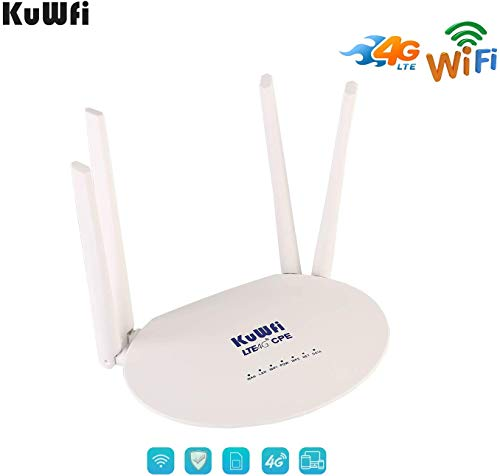 KuWFi 300Mbps Desbloqueado 4G LTE CPE Router con Ranura para Tarjeta SIM con una Potente Antena 4pcs no Desmontable WiFi Hotspot Cat4 150Mbps Compartir 32 usuarios
