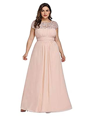 Please refer to Size Guidence Carefully Before Purchasing. Fully Lined, Padded in the bust, Zipper Up at the Back, Low Stretchy. Features: Cap Sleeves, Ruched On the Bust and Waist, Round Neckline Decorated with Lace and Rhinestones,Maxi Dress. Suit ...