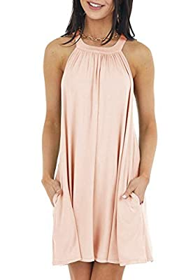 Material: This cami dress is made of super soft and comfy fabric with enough stretch, light weight, breathable and not see through. It's also specially strong skin-friendly, with very smooth feel, can be easily dress up or dress down. Vogue design: T...